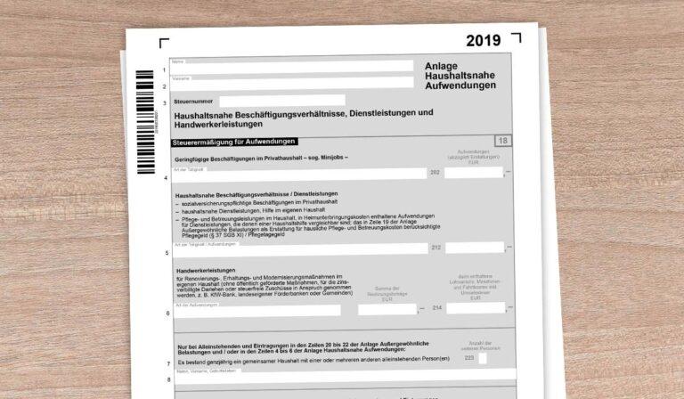 haushaltsnahe dienstleistungen formular 2021